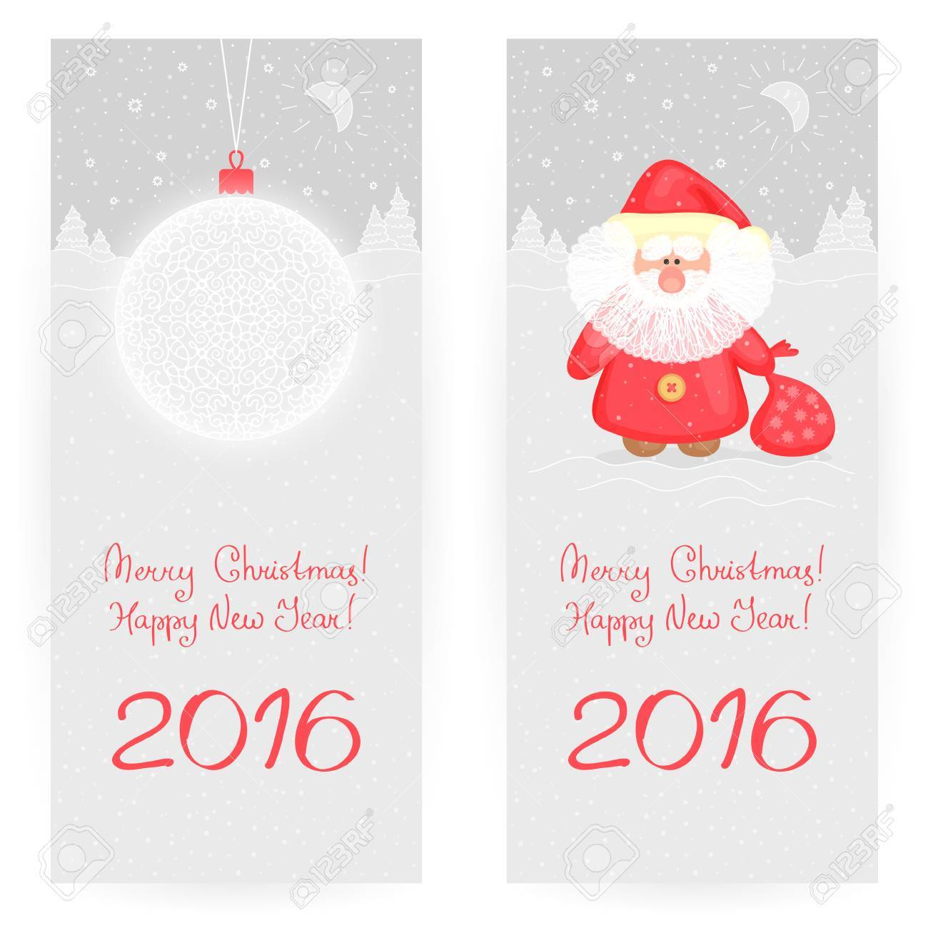Two Festive Greeting Cards In Gray-and-red Colors With New Year\'s ...