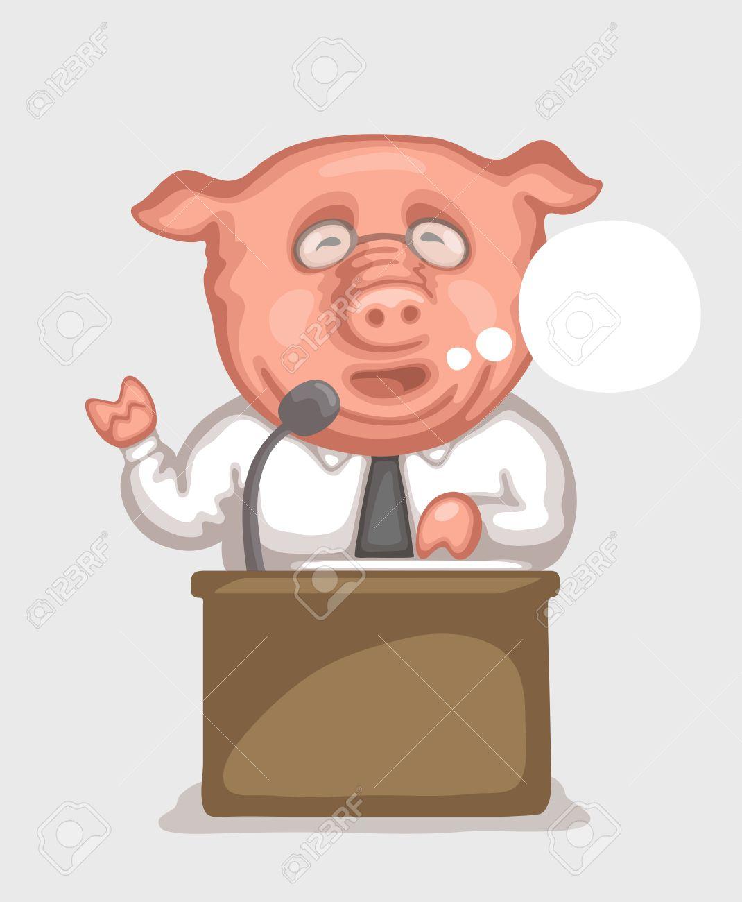 Con Cerdo Político De El Micrófono En Haciendo Está Discurso Usando Y Un La TribunaCaricatura Camisa Vestido Oficial Blanca Corbata b6gYf7y