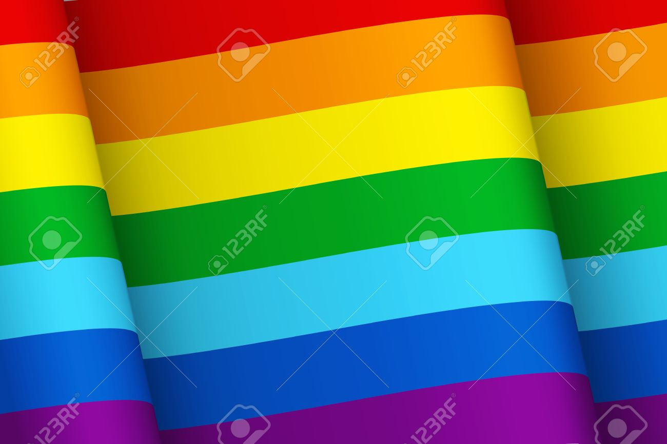 Wind Shaken Flag With Rainbow Colors Symbol Of Happiness Peace