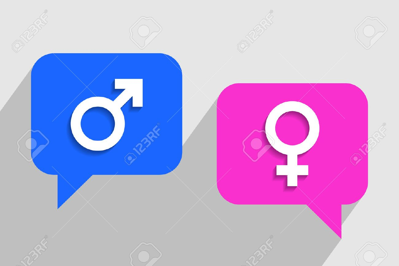 Blue and pink clouds for messages with male and female symbols blue and pink clouds for messages with male and female symbols inside respectively dialogue between buycottarizona