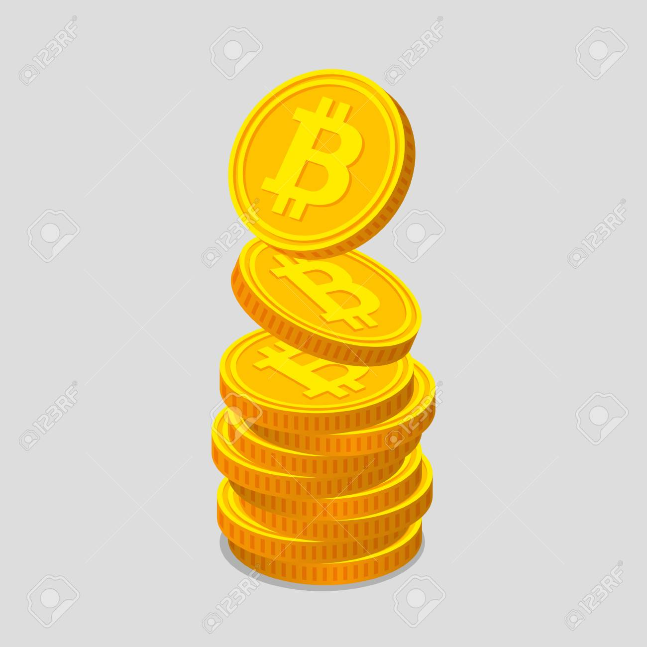 Stack Of Gold Coins With Bitcoin Symbols On Light Background