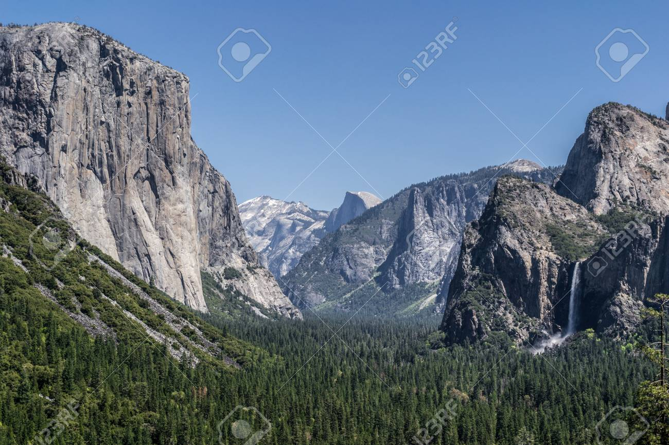 bridalveil falls, half dome, and el capitan from tunnel view