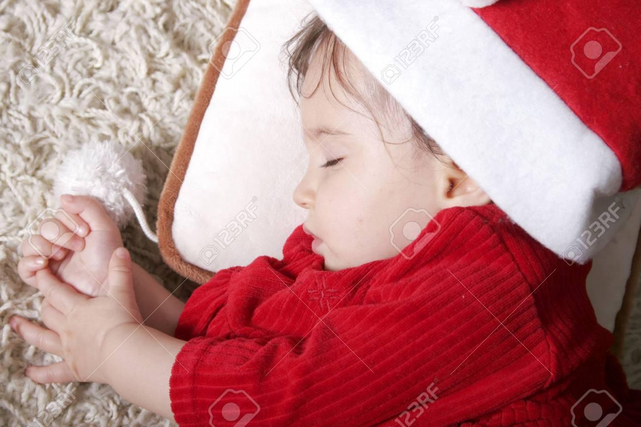 cute baby with santa hat sleeping Stock Photo - 4085697