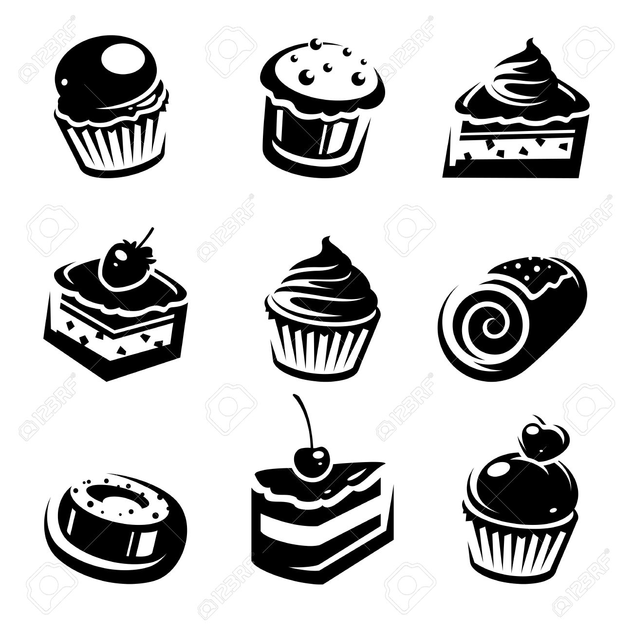 Cake Set Vector Royalty Free Cliparts Vectors And Stock