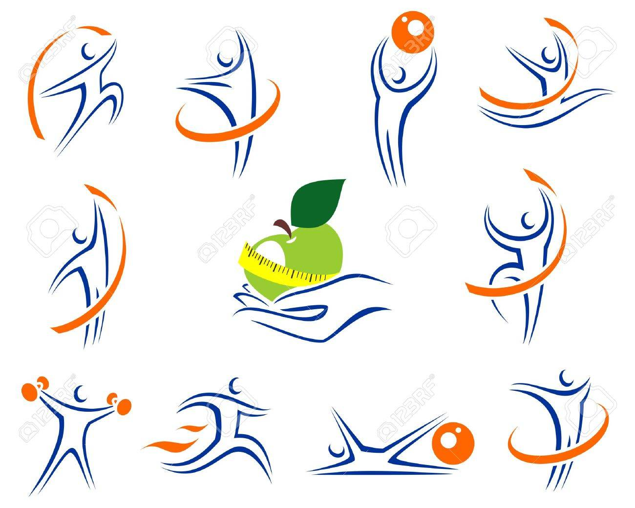 Fitness icons and elements colection Stock Vector - 17778618