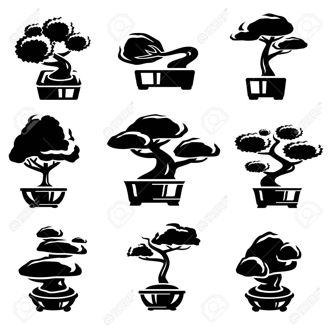Bonsai tree set Stock Vector - 18514189