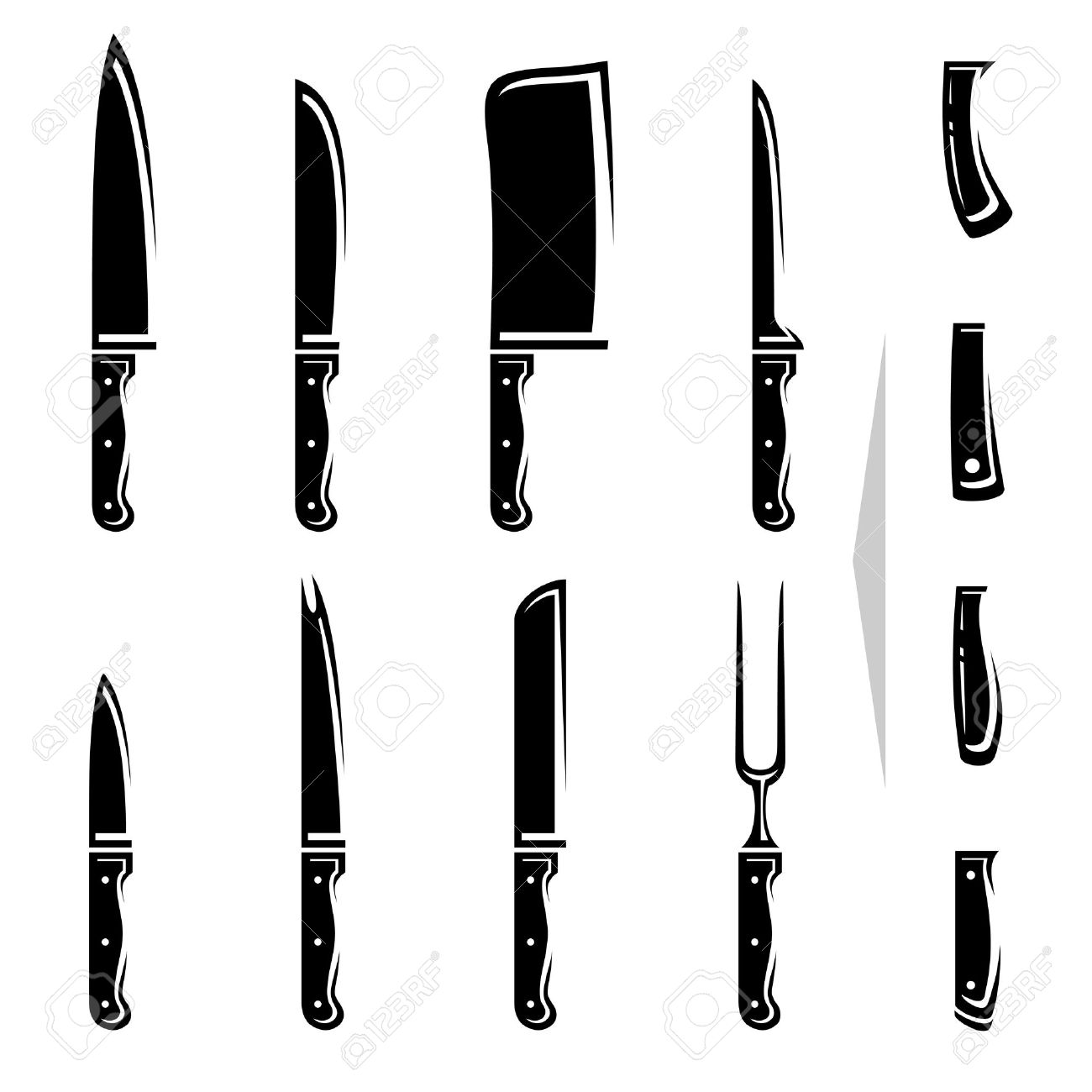 Kitchen Knife Vector Knife Set Vector Royalty Free Cliparts Vectors And Stock