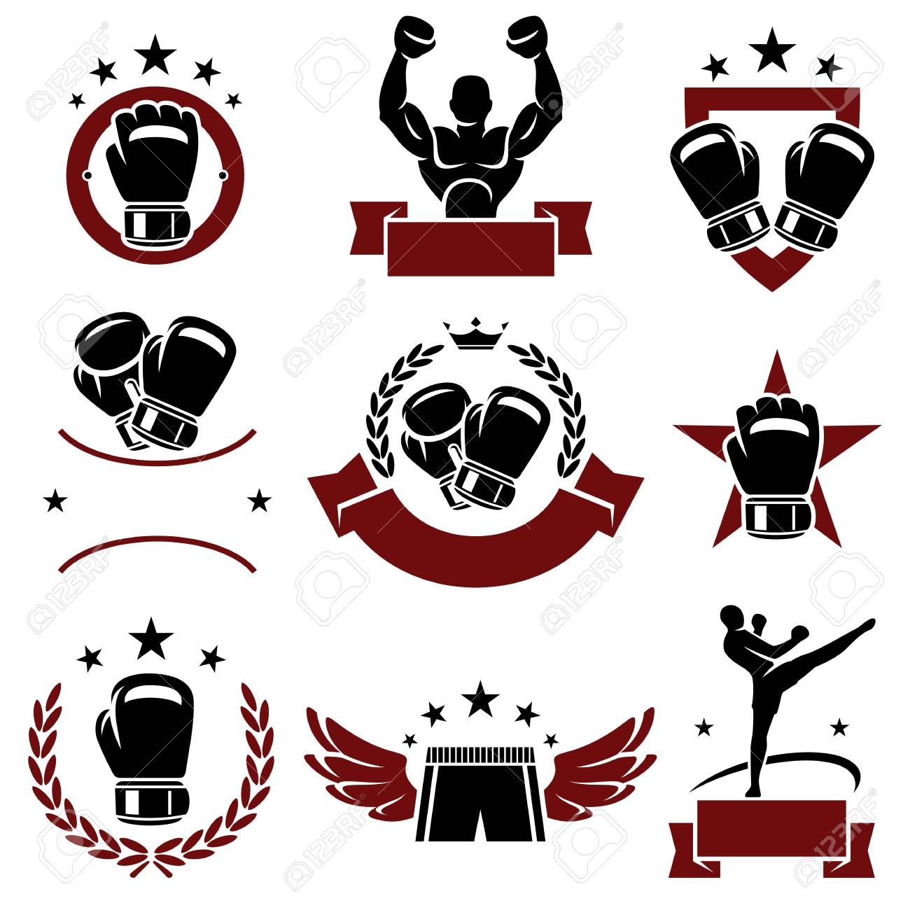 Boxing labels and icons set Vector - 27146972