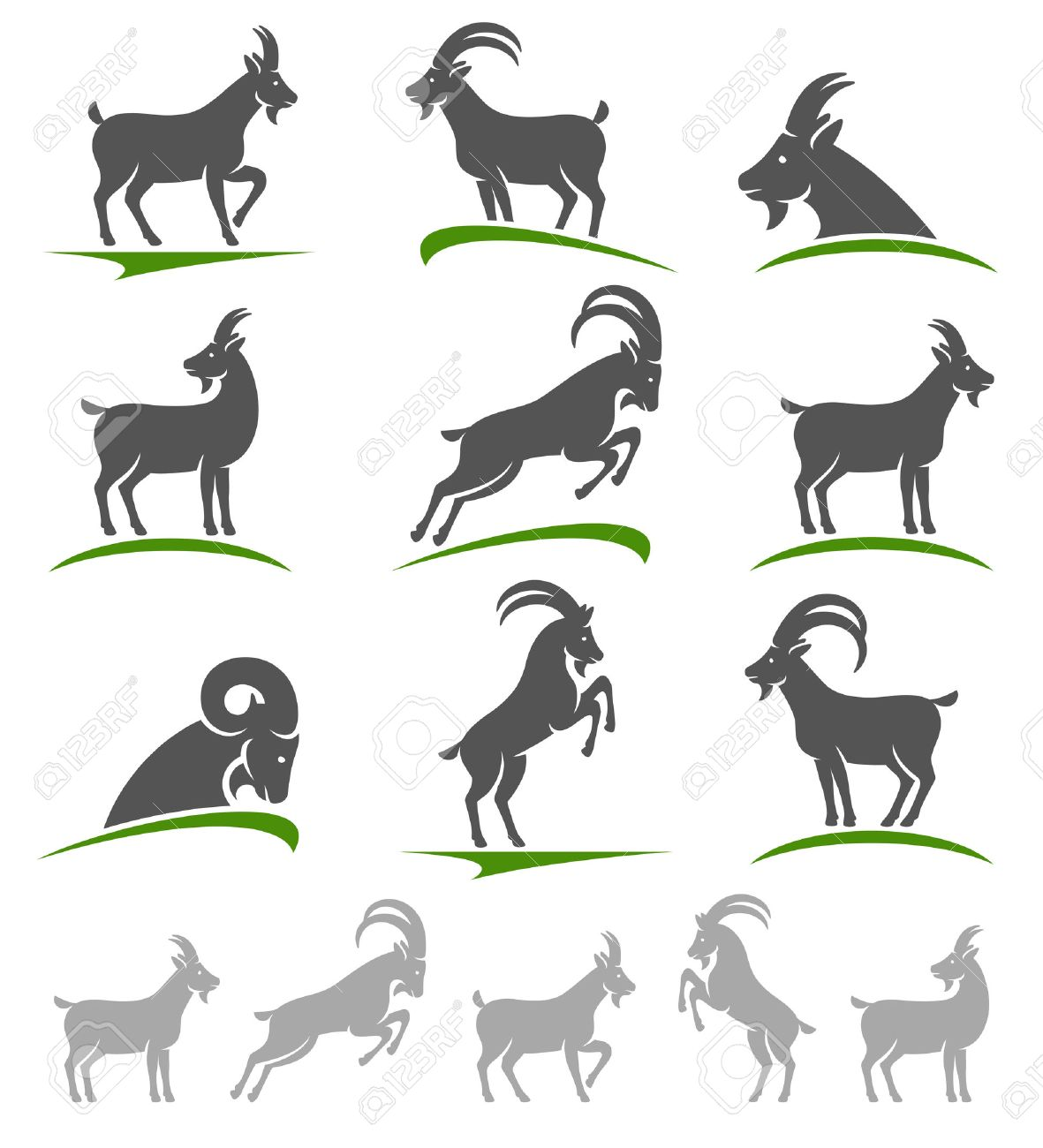 Goat set. Vector - 35693835