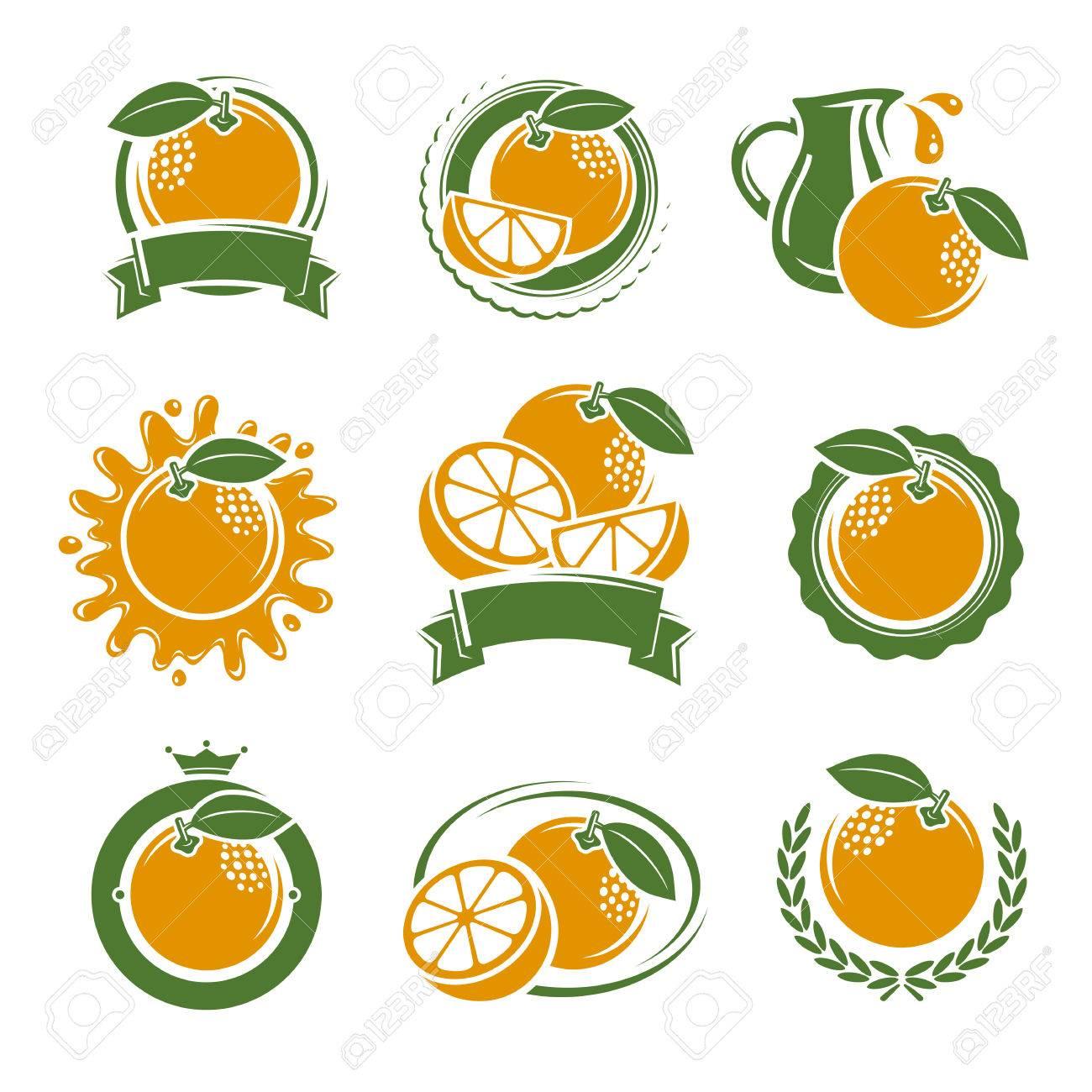 Oranges labels and elements set. Vector illustration - 44701290