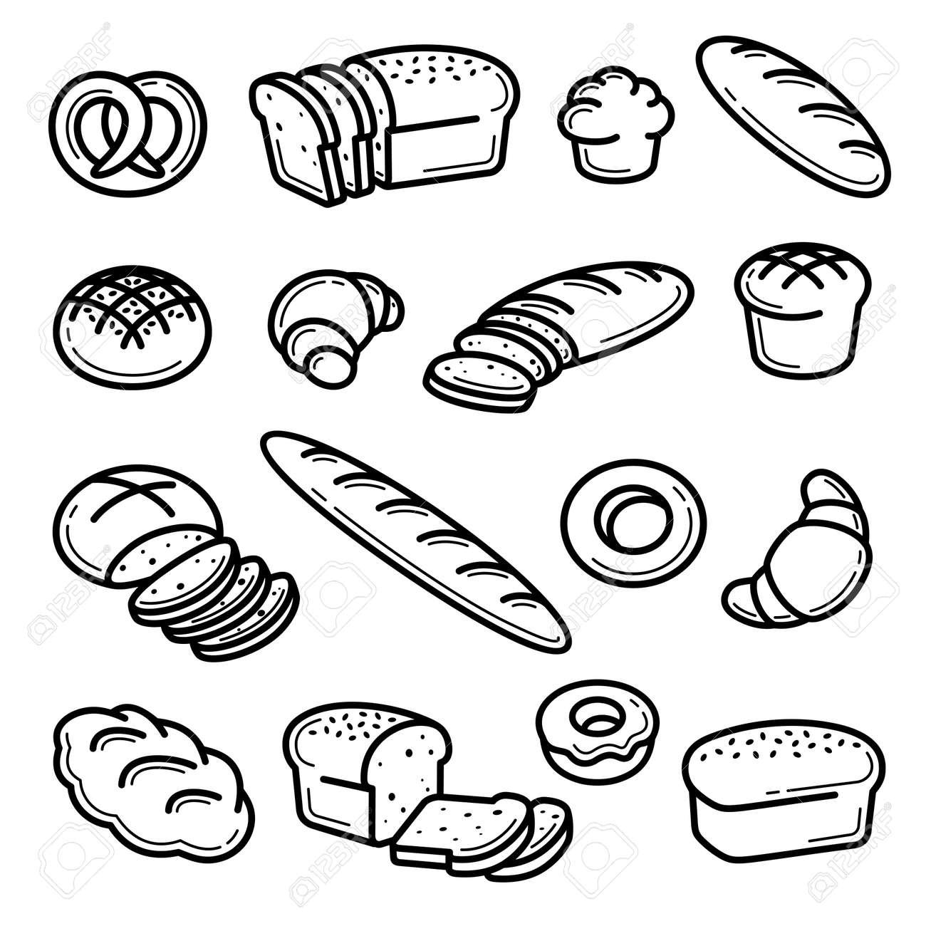 Bread set. Collection bread icons. Vector - 158074020