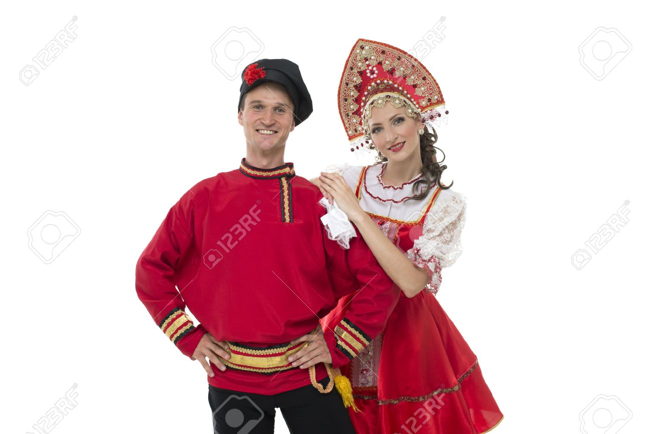 portrait of young man and w looking into the camera in russian portrait of young man and w looking into the camera in russian traditional costumes stock photo