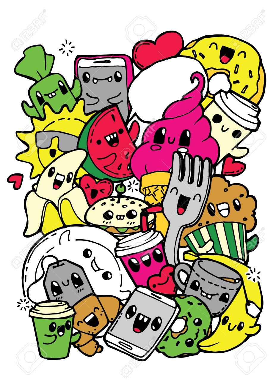 Garabatos De Comida De Comedor. Dibujos Para Colorear Para Niños ...