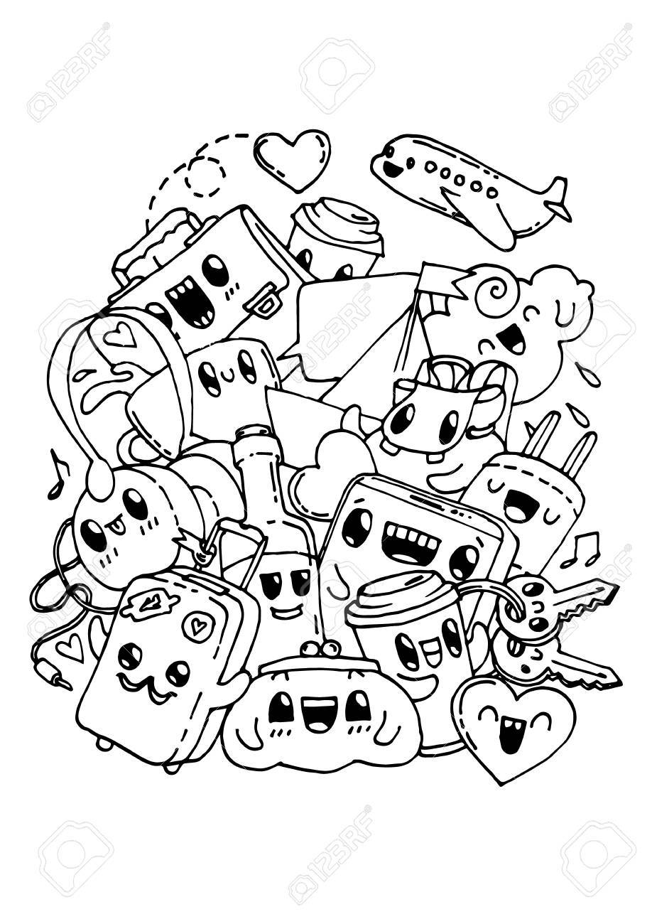 Doodles De Viajes. Dibujos Para Colorear Para Niños. Ilustraciones ...