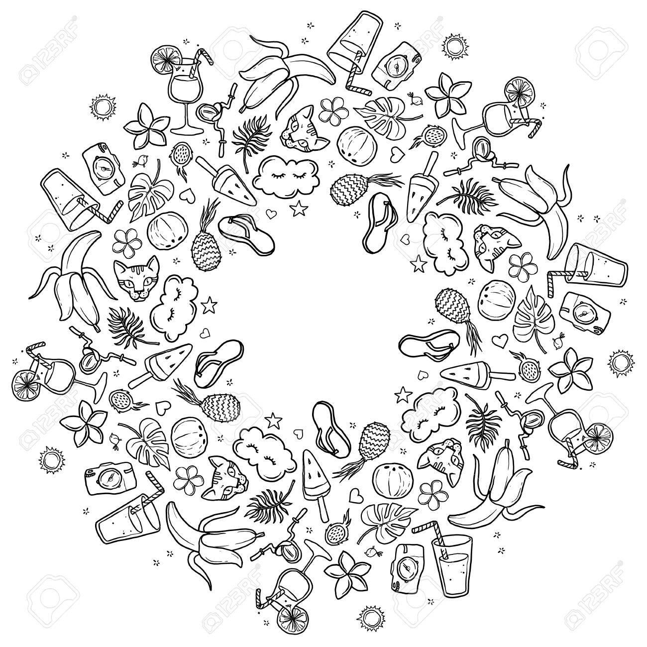 Vignette Ronde Cadre Rond D été été Mandala Contour Dessiné à La Main Sur Un Fond Blanc Pour Les Enfants à Colorier Livre De Coloriage Anti Stress