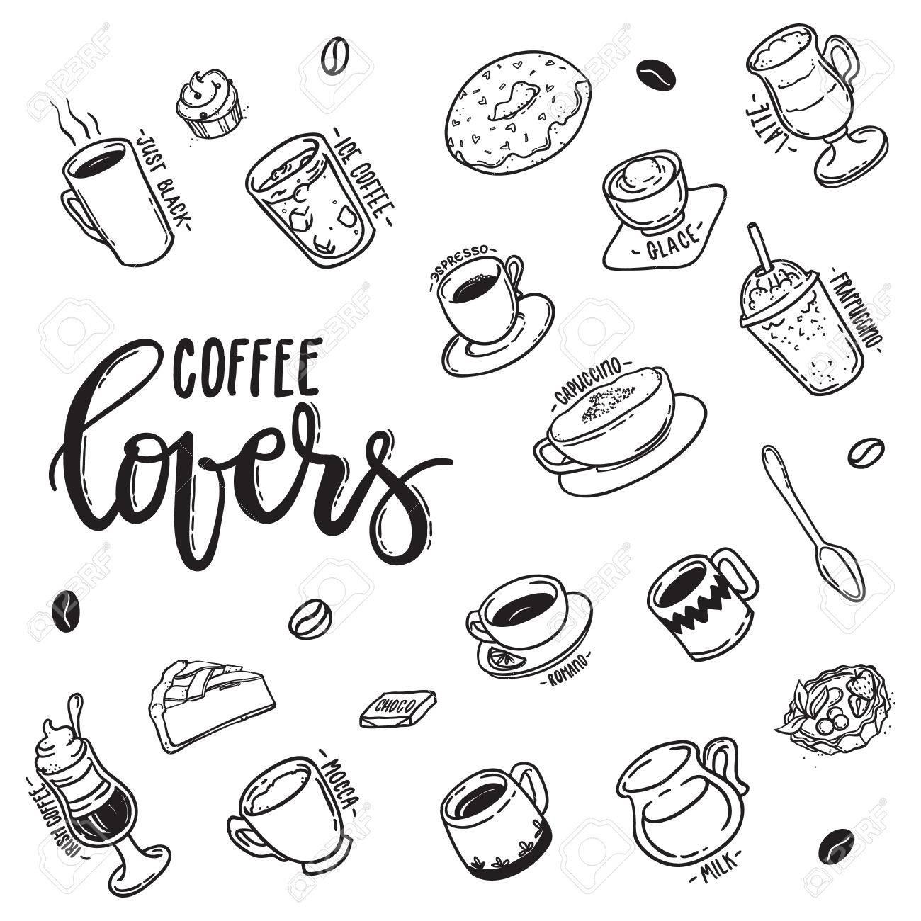 Vettoriale Modello Degli Amanti Del Caffe Dell Iscrizione