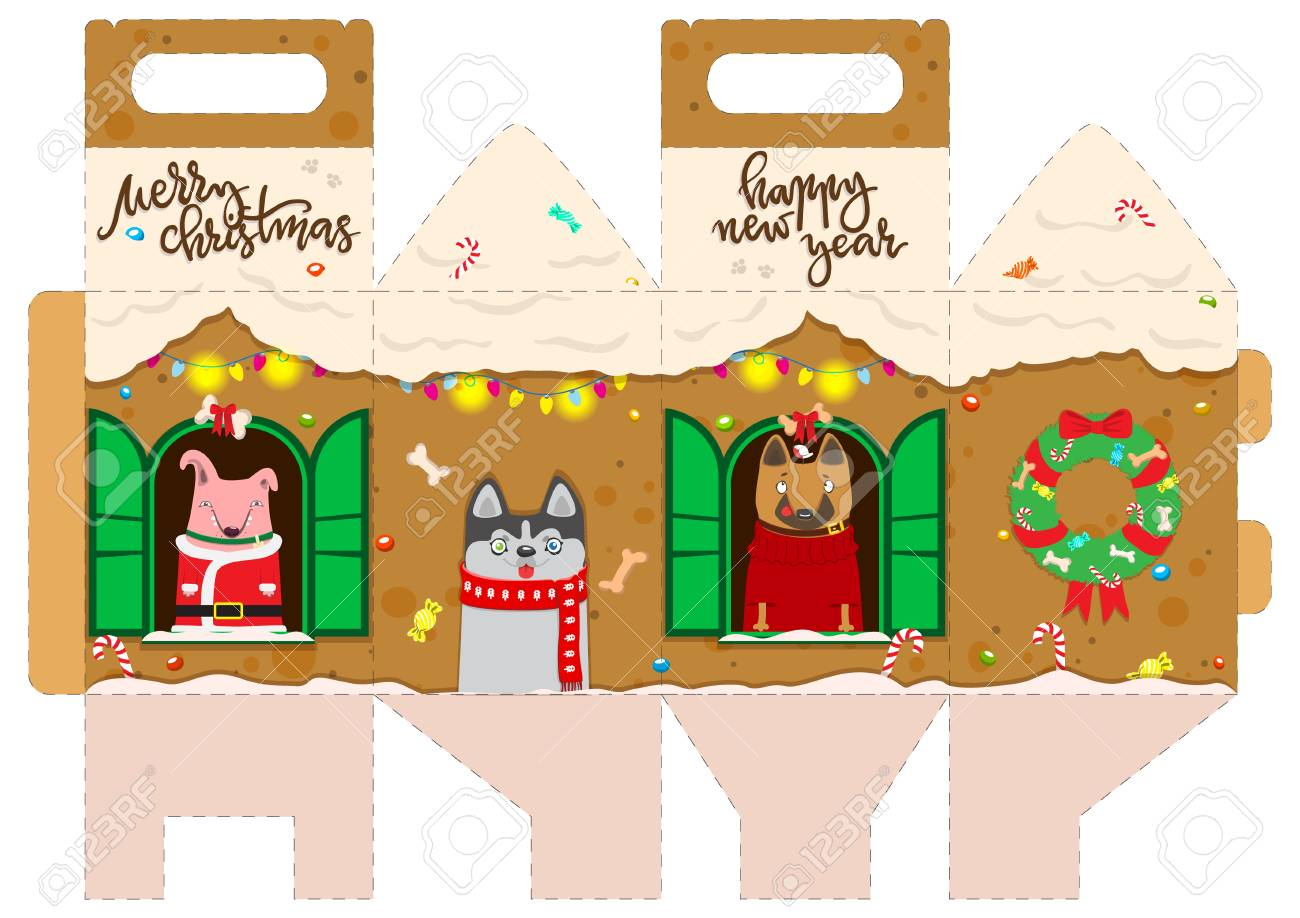 printable gift gingerbread house with happy dogs new year decor template house vector packaging