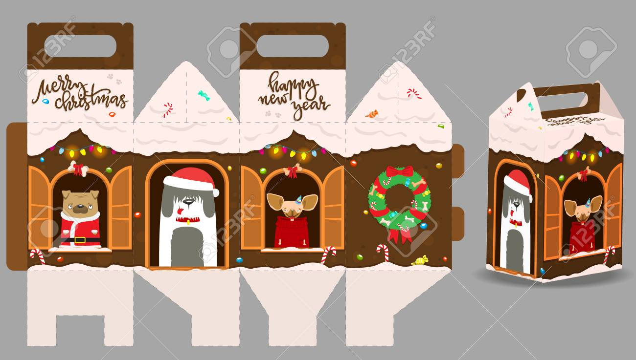 picture relating to Gingerbread House Printable identify Printable reward gingerbread residence with satisfied canine. Refreshing Yr Decor..