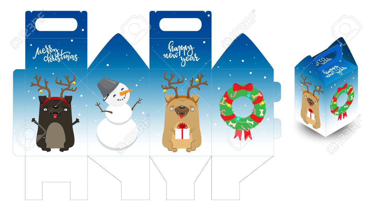 decorative printable new year gift box with happy dogs snowman and christmas wreath template