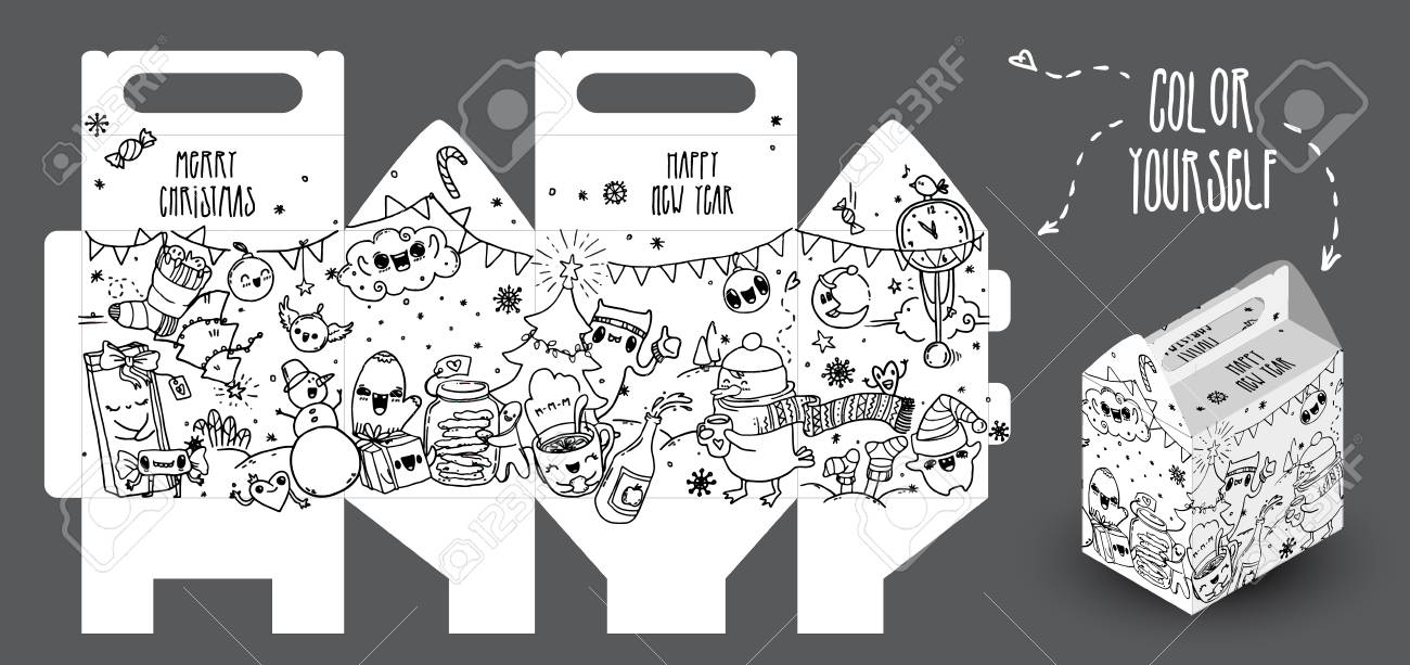 Hand-drawn New Year Gift Box With Funny Doodles. It Can Be Colored ...