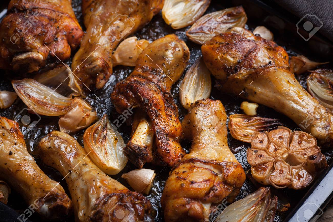 Oven Baked Chicken Leg Quarters With Onion Garlic And Capsicum