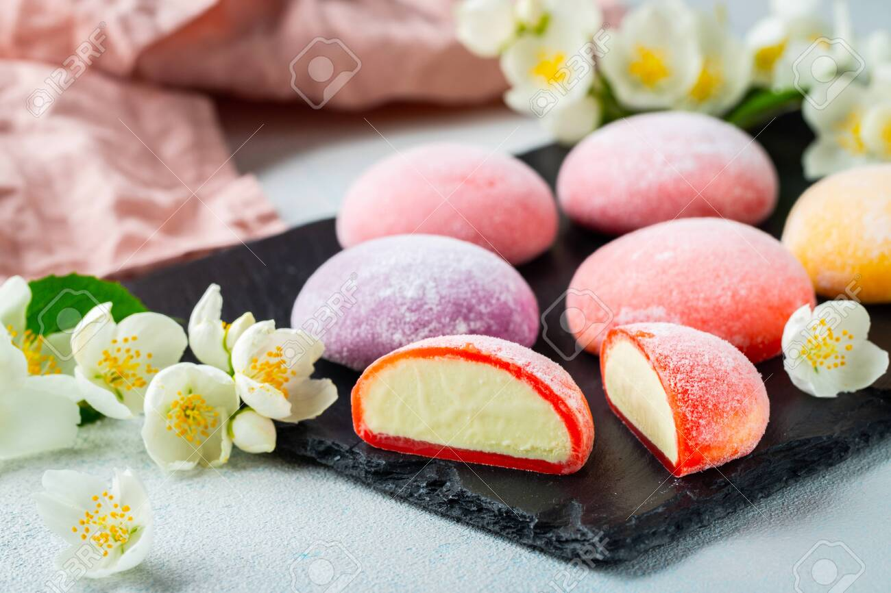 Multi Colored Japanese Ice Cream Mochi In Rice Dough And Jasmine Stock Photo Picture And Royalty Free Image Image 126038058