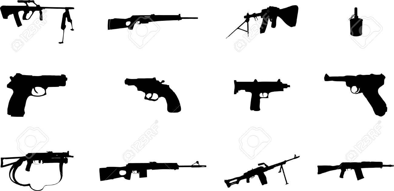 Guns. Set of 12 vector for web Stock Photo - 4706606