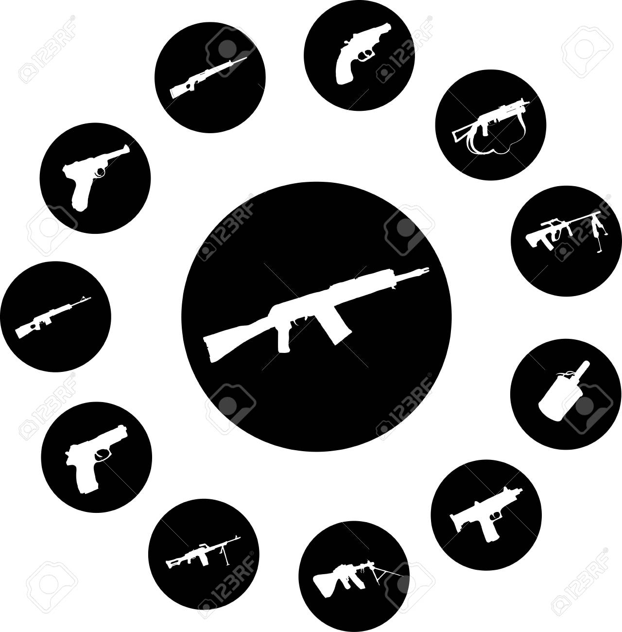 Guns. Set of 12 round buttons for web Stock Photo - 4885187