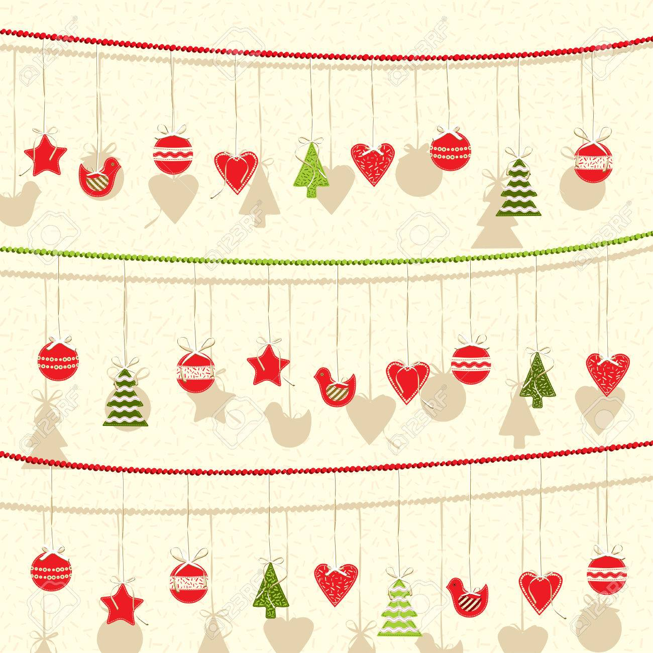 Retro Christmas Garland Vector Background Flat Style Royalty Free