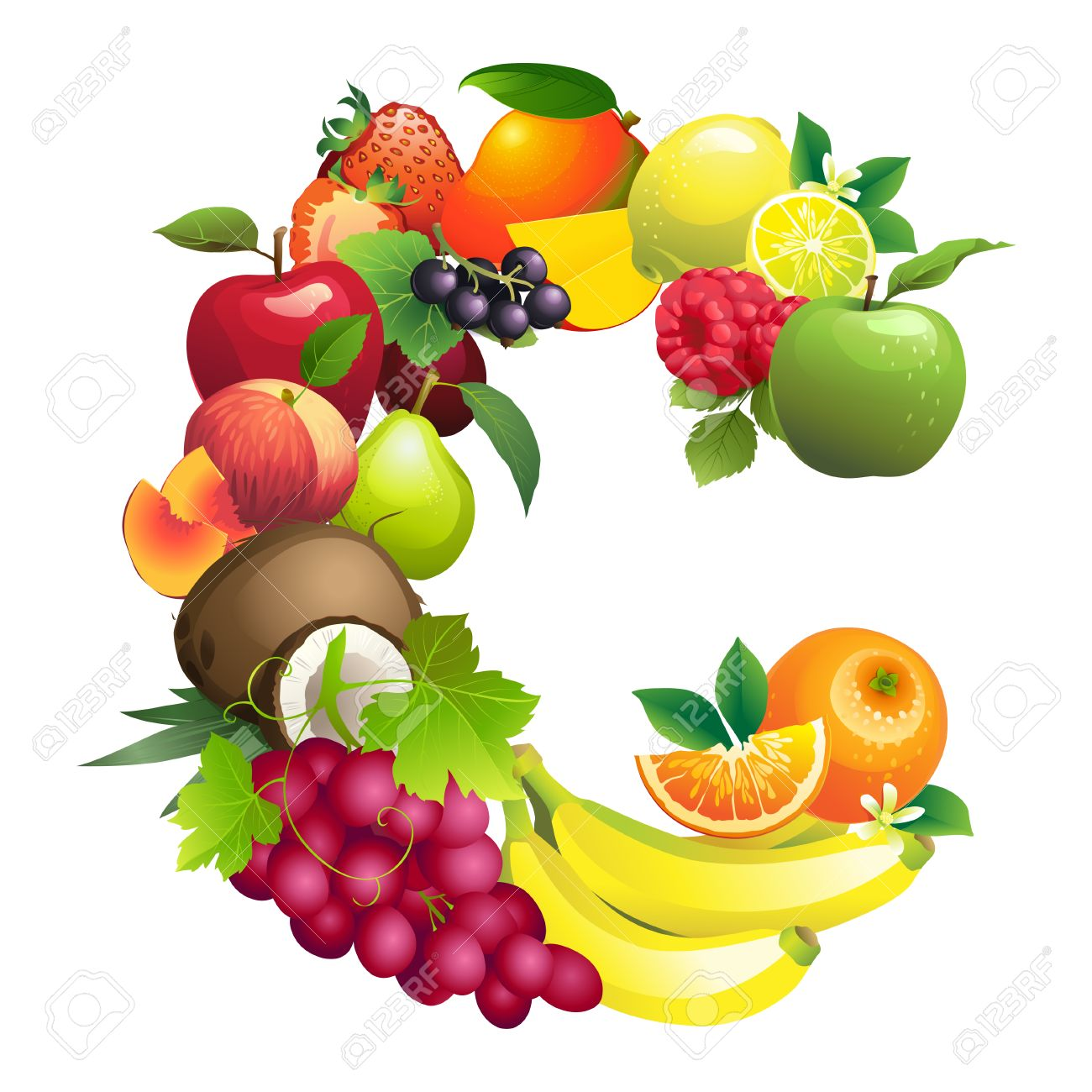 Vector Illustration Letter C Composed Of Different Fruits With