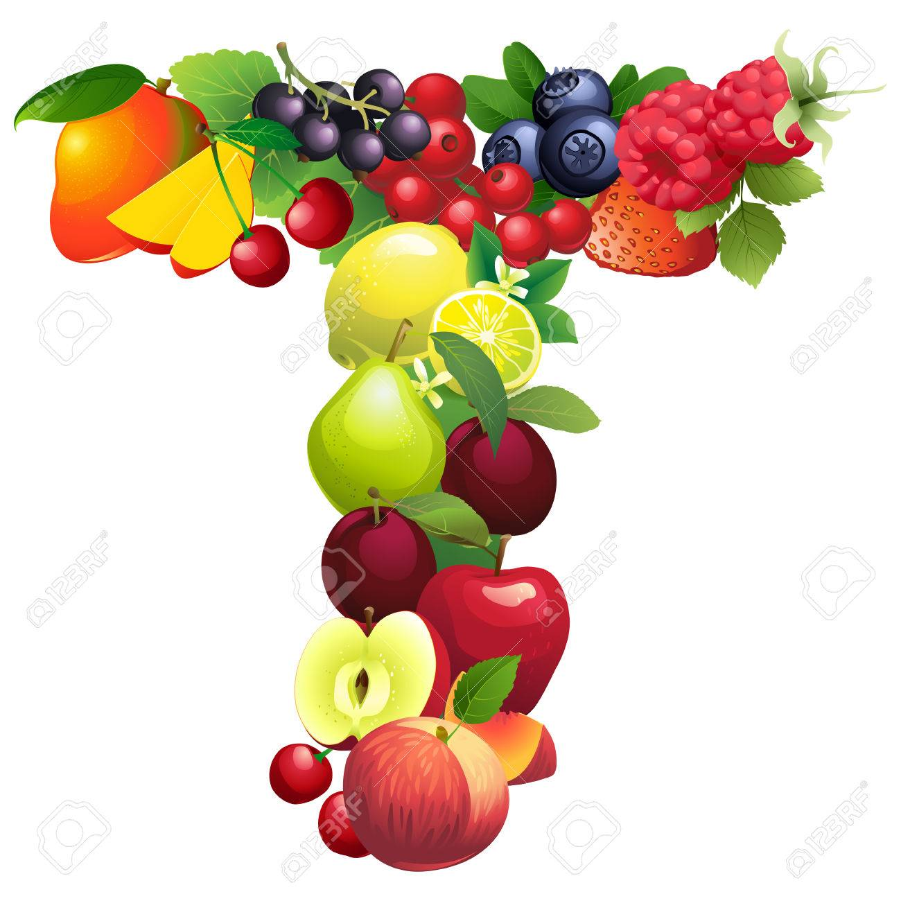 Vector Illustration Letter T Composed Of Different Fruits With