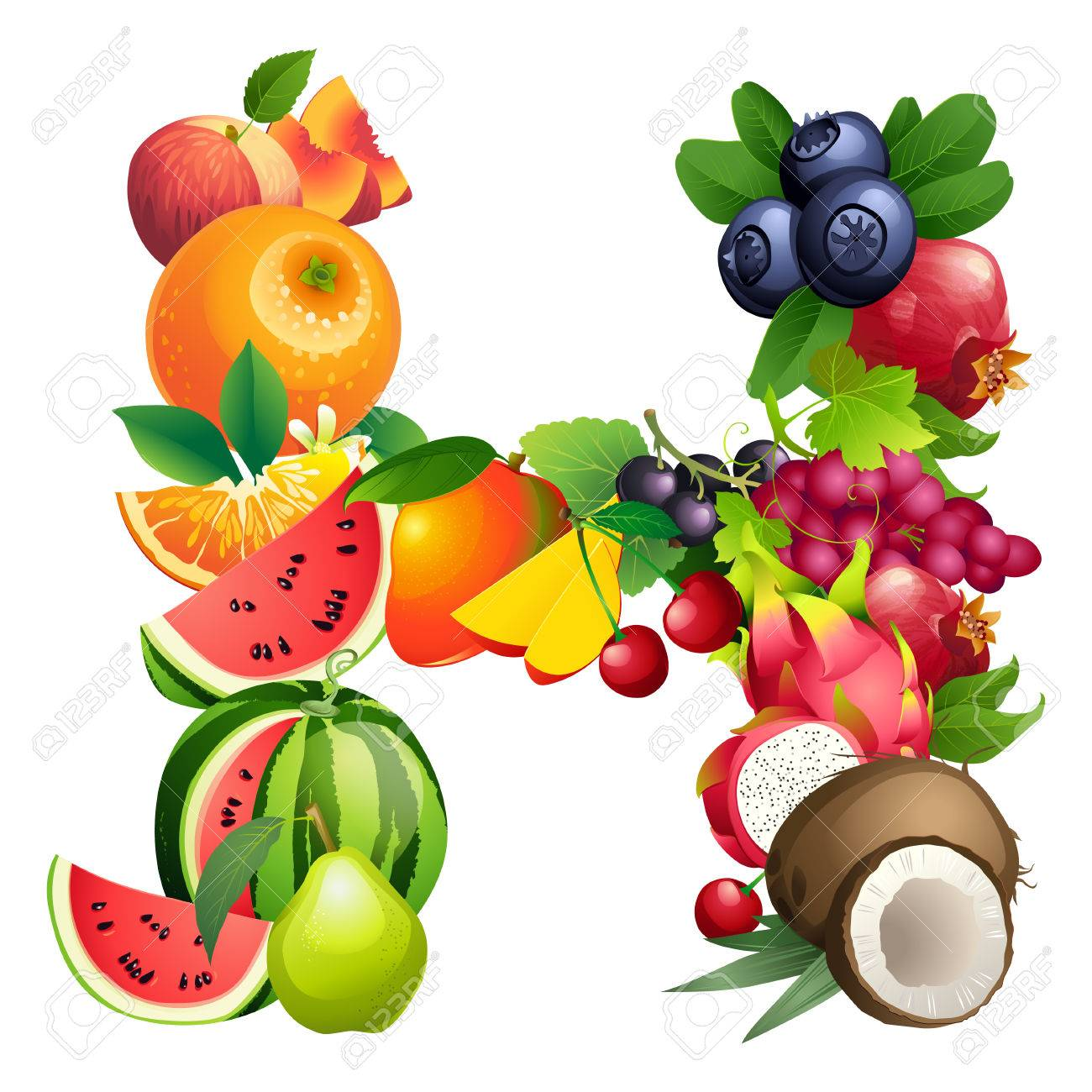 Vector Illustration Letter H Composed Of Different Fruits With