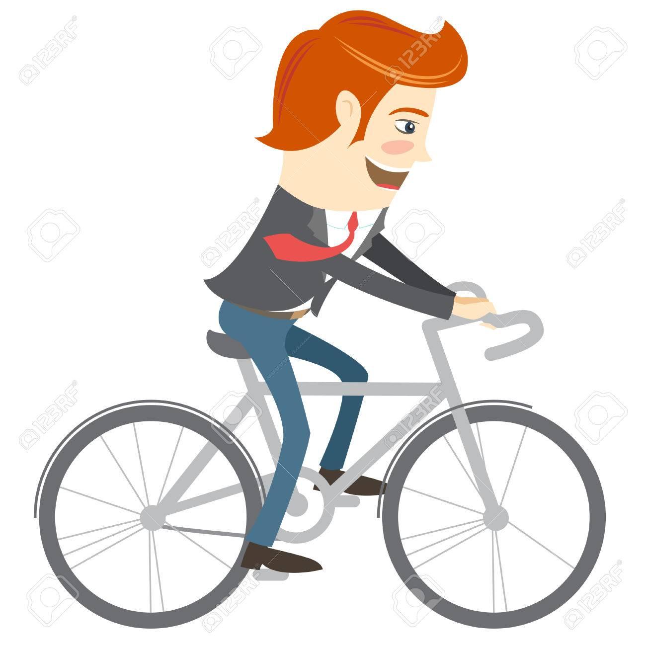 Hervorragend Vector Illustration Hipster Lustig Büro Mann Mit Dem Fahrrad WJ55