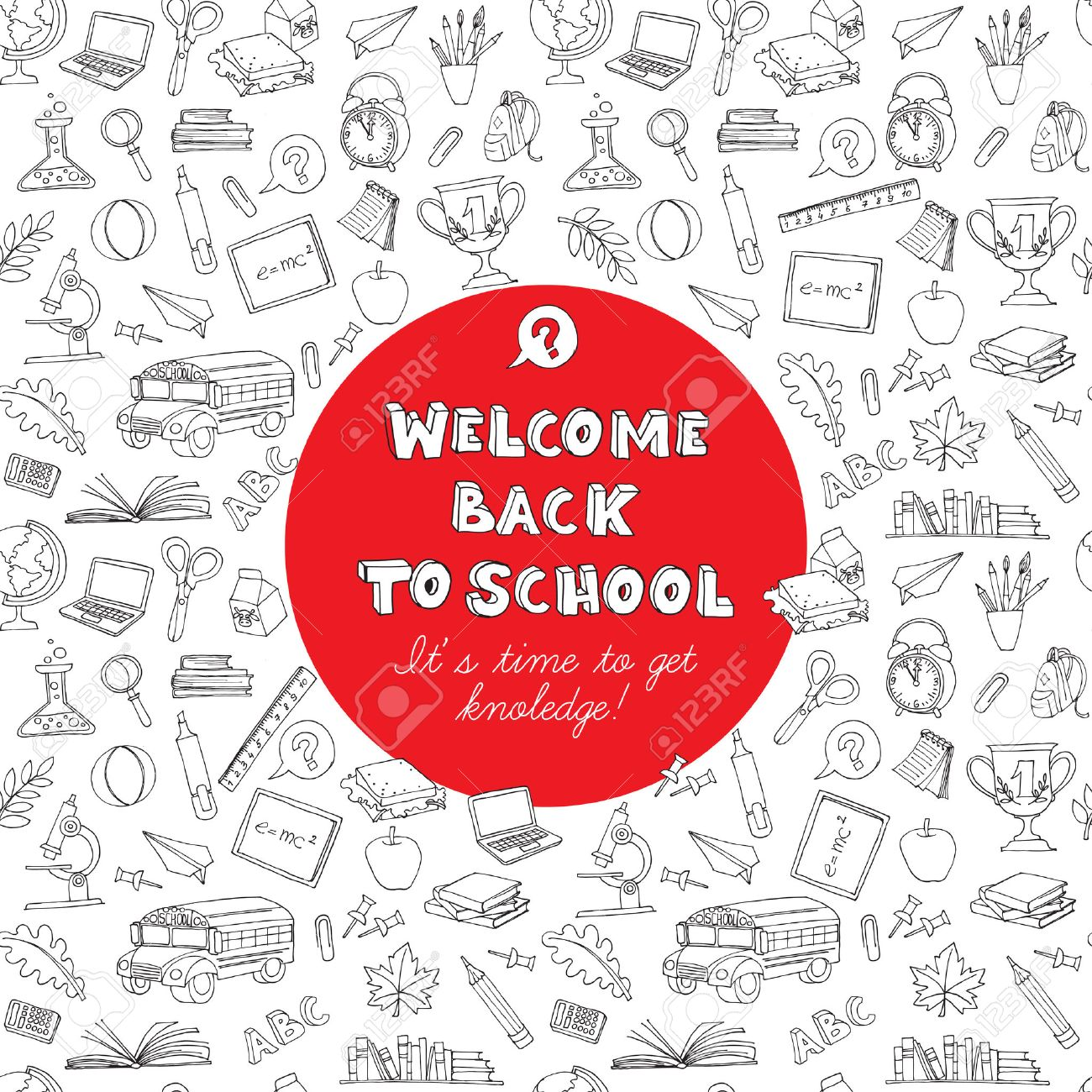 Vector illustration back to school greeting card of kids doodles vector vector illustration back to school greeting card of kids doodles with bus books computer blackboard and world map m4hsunfo