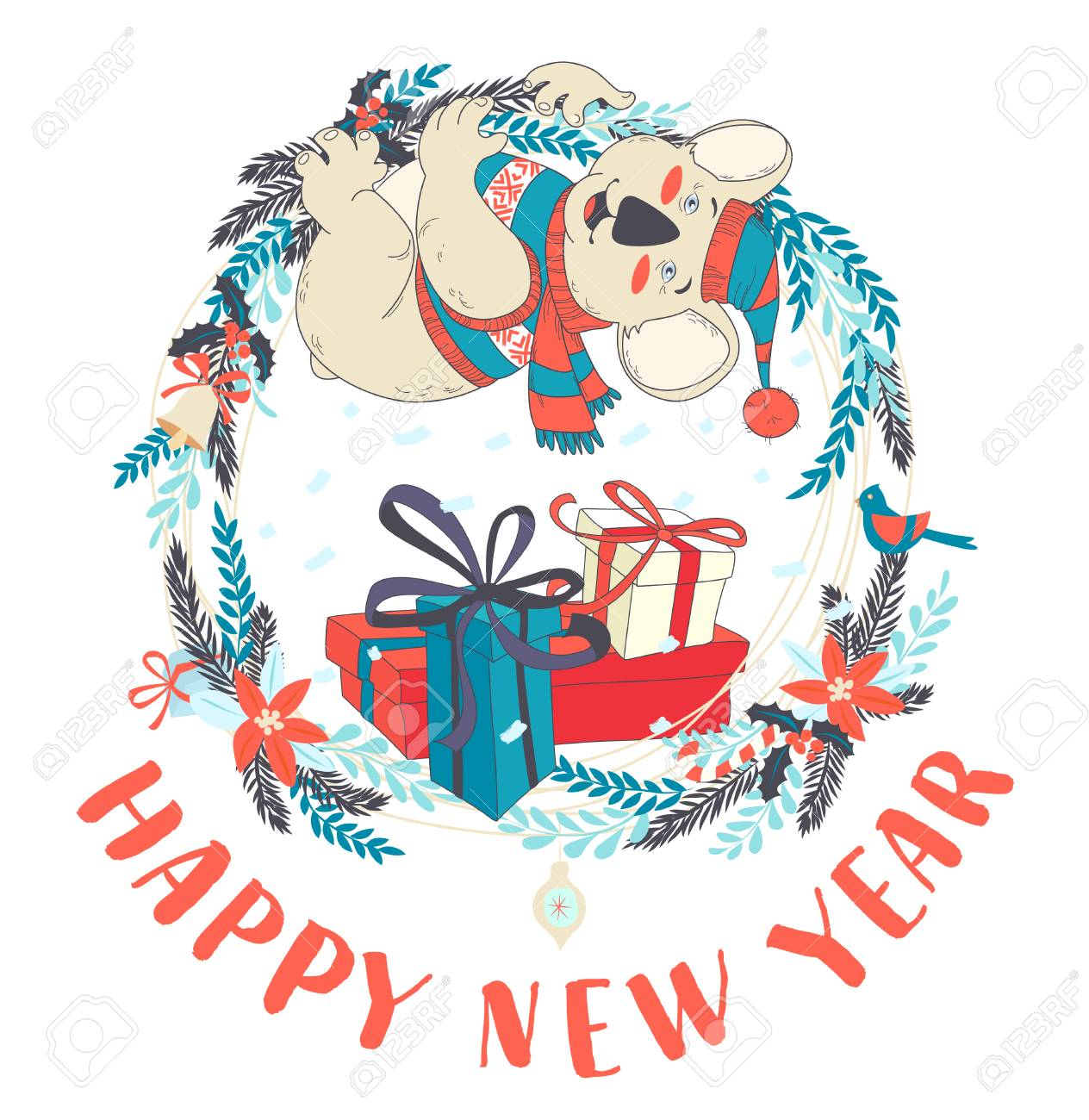 Vector Illustration Funny Happy New Year Card With Koala Wearing ...