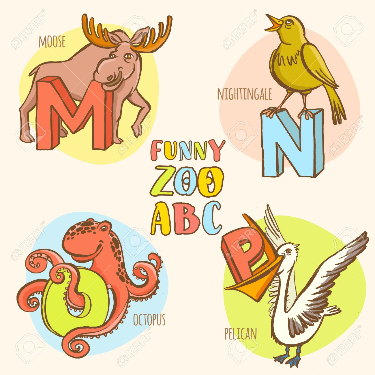 Letter N Narwhal Zoo Alphabet. English Abc With Animals Education ...