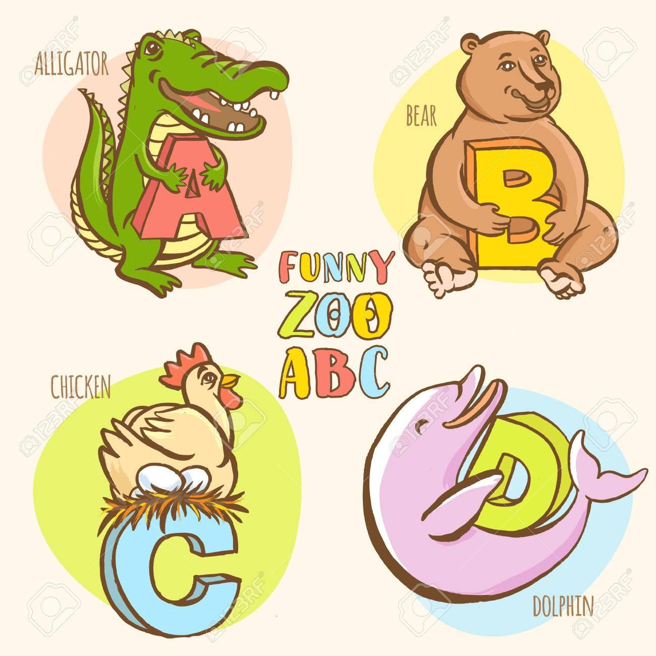 vector illustration funny zoo animals kid's alphabet. hand.. royalty