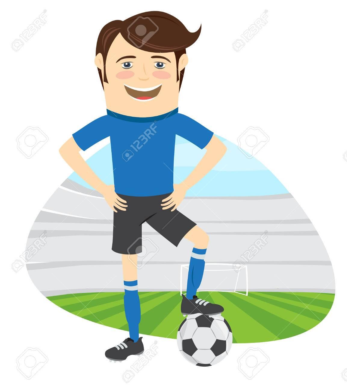 Illustration Joueur Drole De Football De Football Portant Le Bleu T