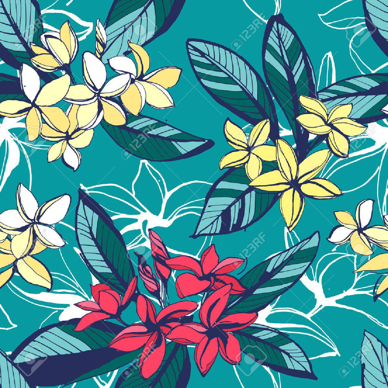 Vector illustration Tropical floral summer seamless pattern with plumeria flowers with leaves. Ink splatter grunge style.Texture, floral design, palm beach, tropical background, summer time, summer beach party - 58154405