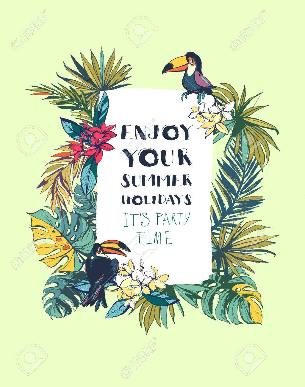 Vector Illustration Tropical Floral Summer Beach Party Invitation ...