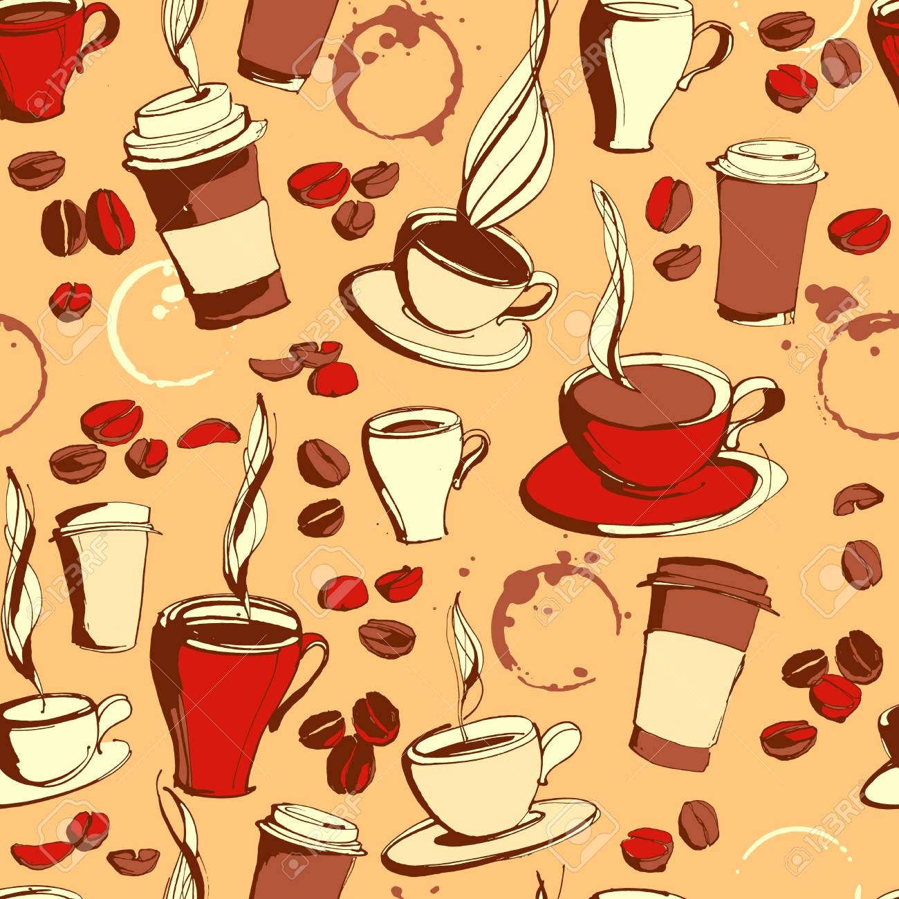 Vector Illustration Grungy Hand Drawn Ink Coffee To Go Cups