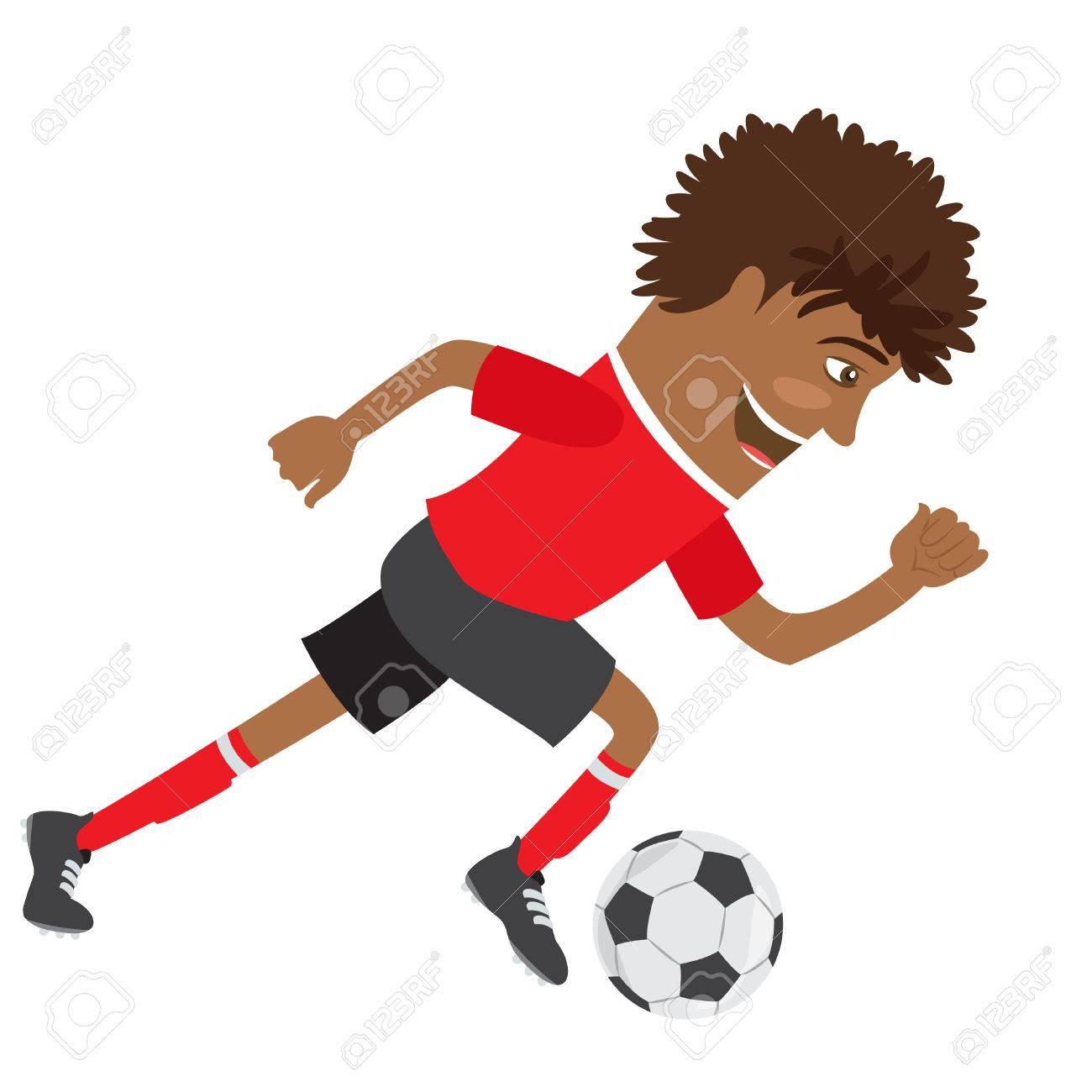Illustration Joueur De Football De Football Afro Americaine Drole