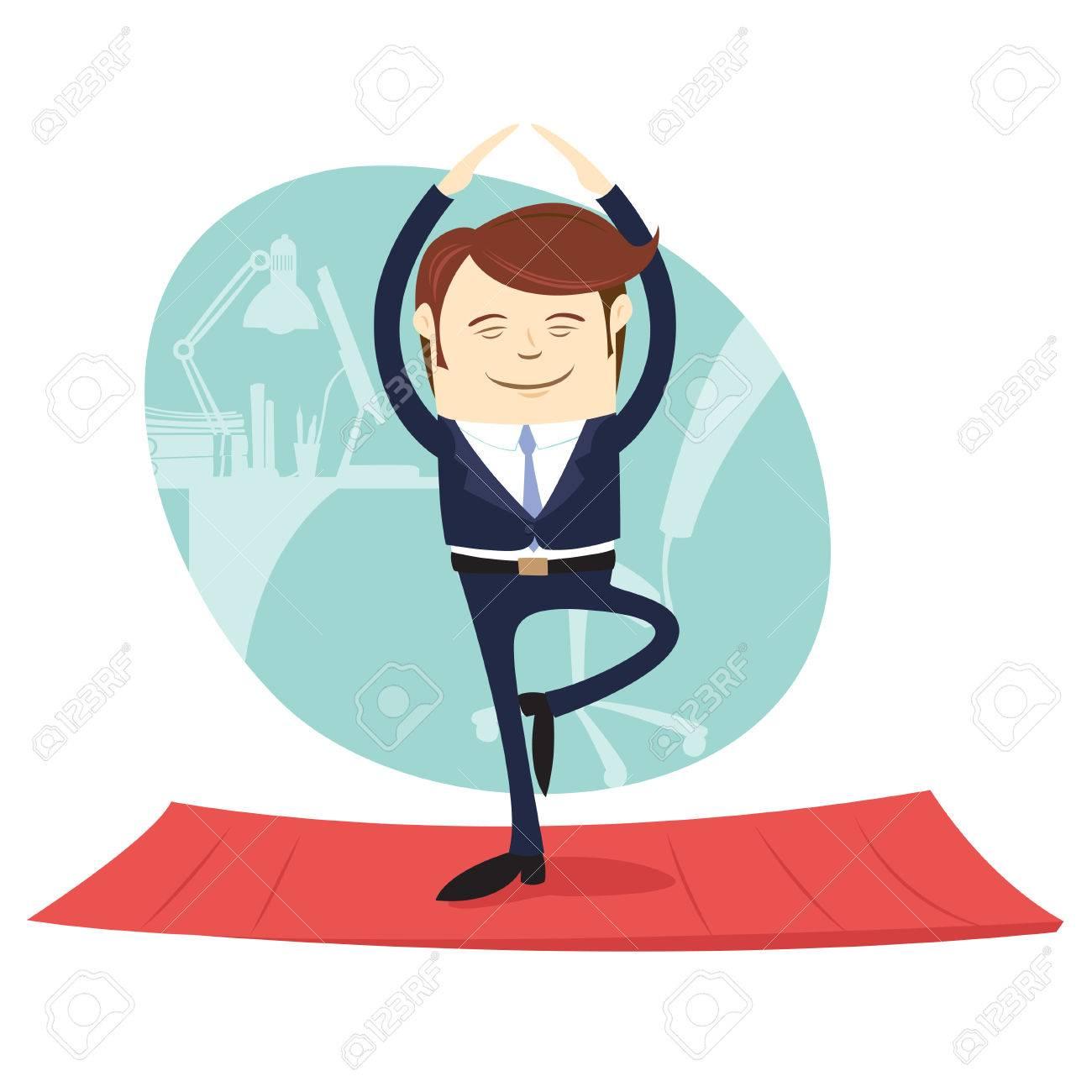 Vektor Illustration Lustige Geschaftsmann Tragen Anzug Tun Yoga