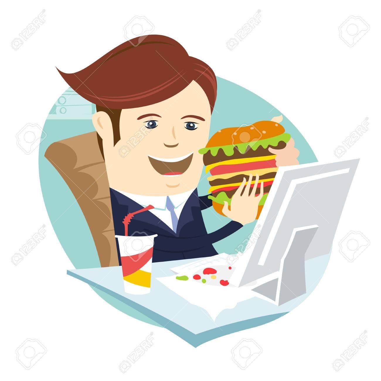 Vector Illustration Homme D Affaires Drole Manger Sandwich A