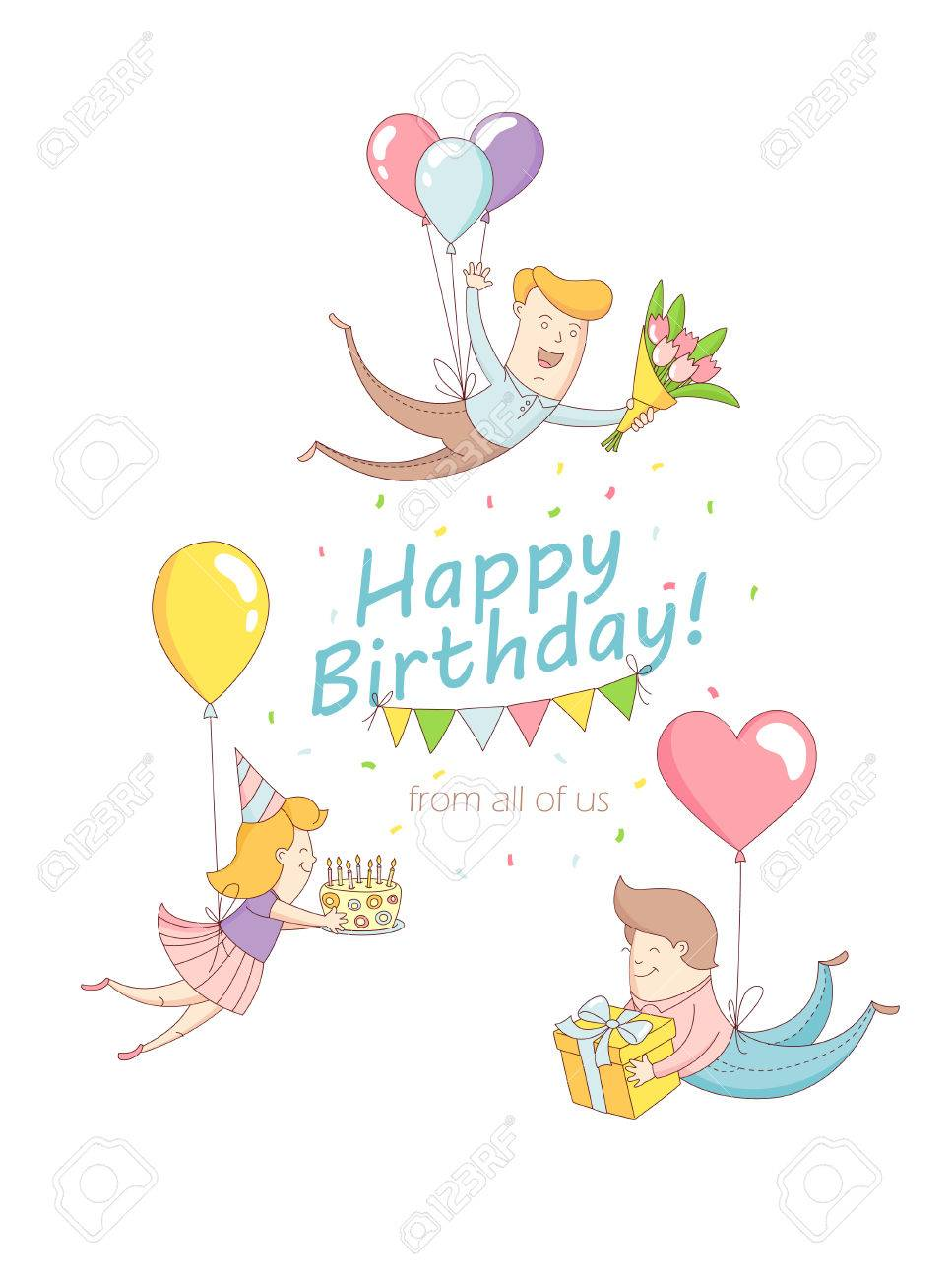 Vector illustration happy birthday party greeting card invitation vector illustration happy birthday party greeting card invitation funny people characters flying with baloons presents kristyandbryce Gallery