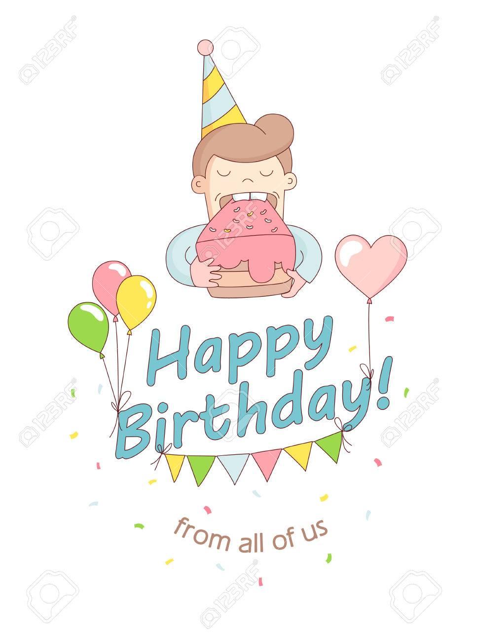 Vector Illustration Happy Birthday Party Greeting Card Invitation