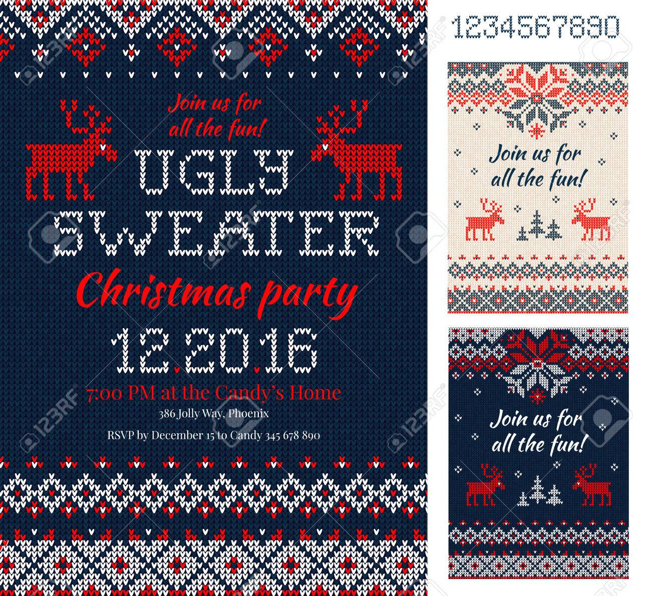 13524f366415b Merry Christmas Party Invitation cards with knitted patterns and ornaments  in scandinavian style with deers.