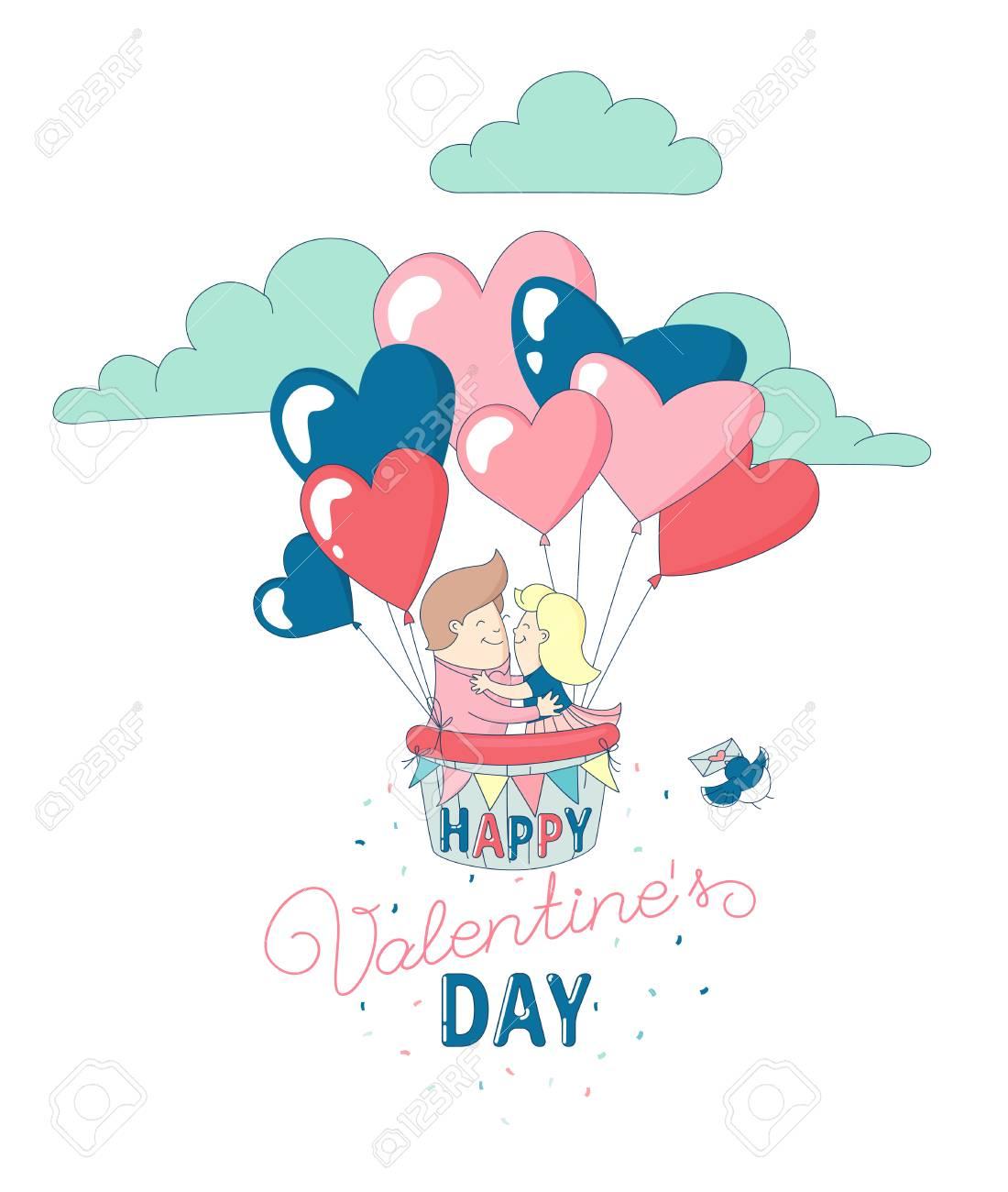 Carte Bonne Fete Fille.Bonne Fete De La Saint Valentin Invitation De Carte De Voeux Drole Garcon Et Fille Personnages Couple Amoureux Vol Avec Ballons Coeur Air Chaud Ligne