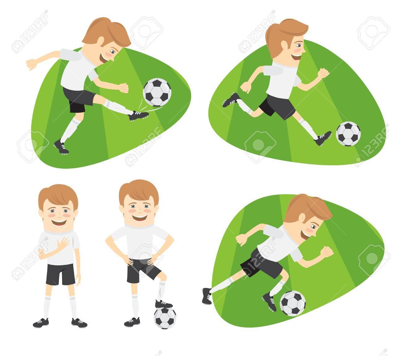 Ensemble D Equipe De Joueurs De Football De Football Drole Jouant