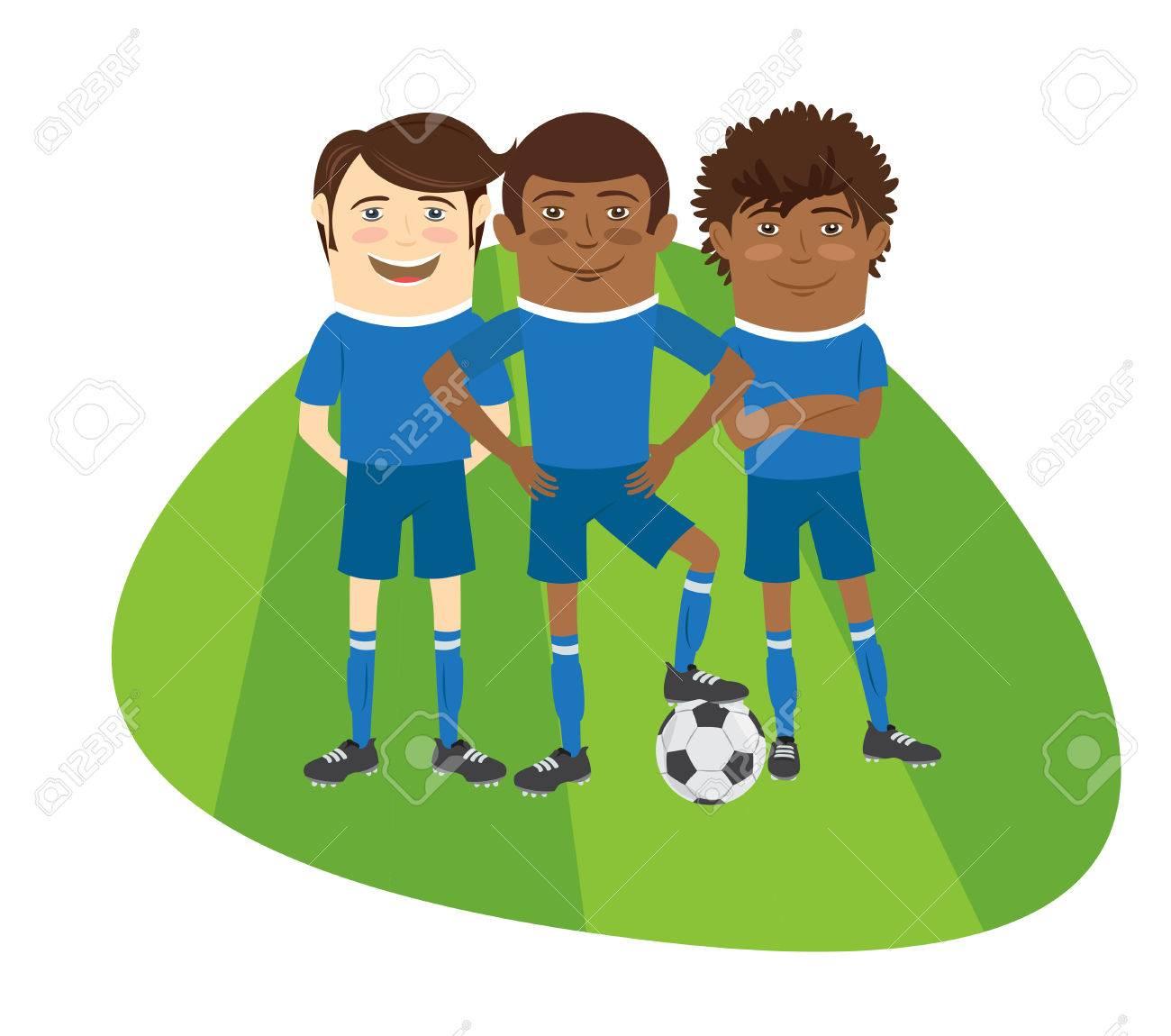 Trois Equipe De Footballeurs De Football Drole Debout Sur Le Terrain